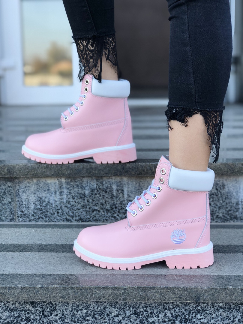 "Женские зимние ботинки Timberland ""Pink"" ( в стиле Тимберленд )"