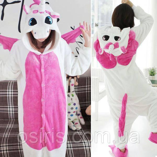 Пижама Кигуруми плюшевая взрослая Единорог Розовый с Крыльями L (на рост  160-170 см 7d3e700cab78b