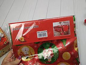 Скатерть новогодняя атласная 150*220 см Шарики-снеговики, новогодние атласные скатерти оптом от производителя , фото 2