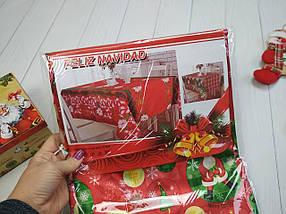 Скатерть новогодняя атласная 150*220 см Шарики-снеговики, новогодние атласные скатерти оптом от производителя , фото 3