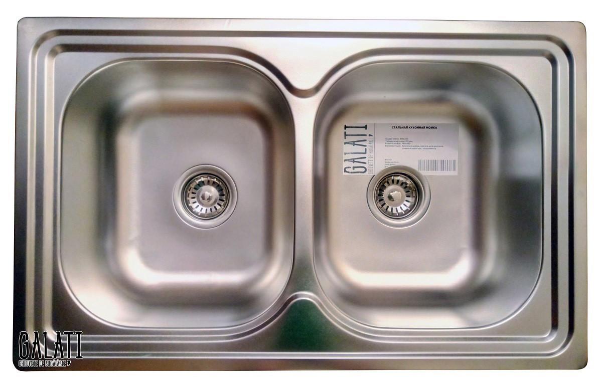 Двойная кухонная мойка Galaţi Fifika 2C Satin 78*48 прямоугольная