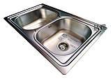 Двойная кухонная мойка Galaţi Fifika 2C Satin 78*48 прямоугольная, фото 6