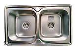 Кухонная мойка Galaţi Fifika 2C Textură 78*48 стальная двойная, фото 5