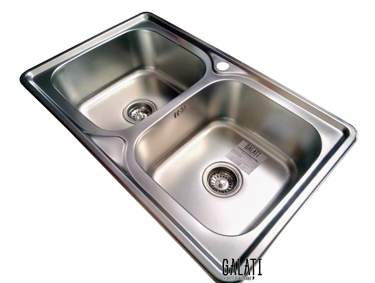 Кухонная мойка Galaţi Fifika 2C Textură 78*48 стальная двойная