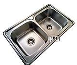 Кухонная мойка Galaţi Fifika 2C Textură 78*48 стальная двойная, фото 3