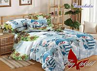Комплект постельного белья подростковый новогодний снеговики хлопок 100%