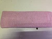 Повязка розовая на голову двойная из тонкой шерсти