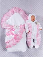"""Зимний набор на выписку """"Роскошь кружева"""" для новорожденной девочки 3 предмета, фото 1"""