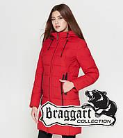 Куртка удлиненная зимняя для девушек Braggart Youth - 25005F красная