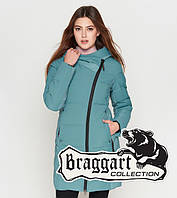 Куртка удлиненная зимняя для девушек Braggart Youth - 25085B зеленая