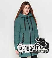 Куртка удлиненная зимняя для девушек Braggart Youth - 25125L зеленая
