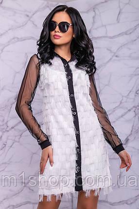 Женское платье-рубашка из бахромы и сетки (3038-3039-3040 svt), фото 2