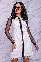 Женское платье-рубашка из бахромы и сетки (3038-3039-3040 svt)