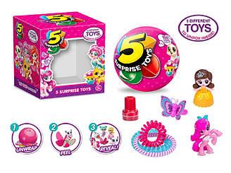 """""""5 сюрпризів"""" 511 шар складається з 5 сегментів в кожному іграшка, діаметр шару 8,5 см, в кор. 12, 5*8,8*11 см"""