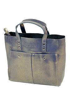 Женская сумка кожа ALEX RAI PD 10-04 8713 grey-gold