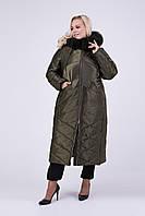Зимнее женское пальто с песцом Riches 693 (куртка) Большие размеры 52-64