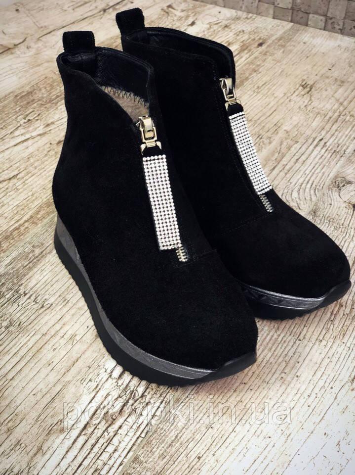 feece1a1dda418 Стильные ботинки женские зимние на меху натуральные замшевые на платформе  молния спереди черные -