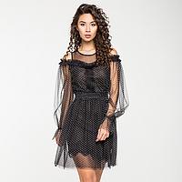 Нарядное платье из фатина и сетки, на трикотажной подкладке с оборкой из гипюра., фото 1