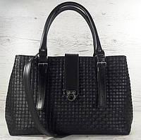 541 Натуральная кожа, Сумка женская черная саквояж, сумка кожаная черная, тиснение соломка