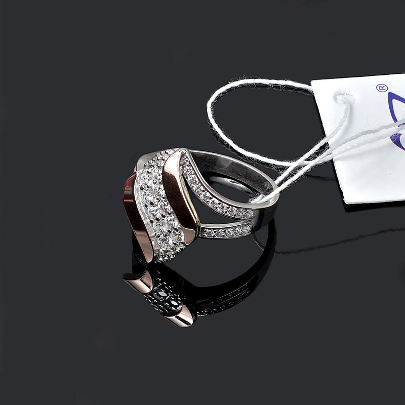 Серебряное кольцо со вставкой золота , фото 1