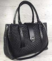 541 Натуральная кожа, Сумка женская черная саквояж, сумка кожаная черная, тиснение соломка, фото 2