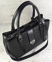 541 Натуральная кожа, Сумка женская черная саквояж, сумка кожаная черная, тиснение соломка, фото 3