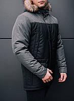 Фирменная зимняя мужская парка Parka Pobedov Аляска ALASKA черная вставка  антрацит 3ea016761ef