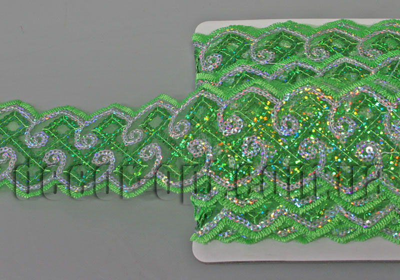 Тесьма с пайетками зеленая 5,5см/15ярд  код6/13-2027