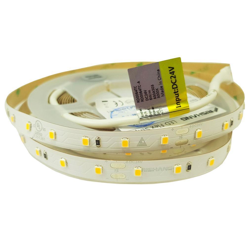 Світлодіодна стрічка біла нейтрально RD0064TC-A 2835-64-IP20-NW-10-24 4000K CRI80 6Вт 24вольт рішанг11059