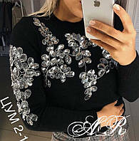 Осень 2018!Нарядный, женский, кашмировый свитер с роскошной вышивкой из пайеток РАЗНЫЕ ЦВЕТА