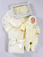 """Зимний набор на выписку """"Роскошь кружева"""" для новорожденной девочки 5 предметов, фото 1"""