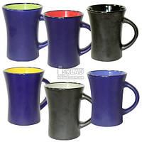 4165-06 Чашка 300мл 6 цветов Черная Микс