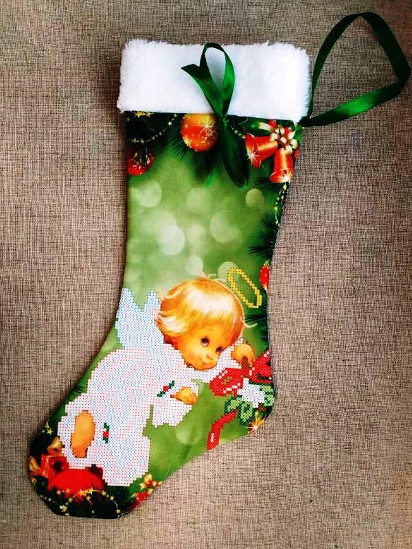 ЧХ-4. Пошитий новорічний чобіток з хутром, під вишивку