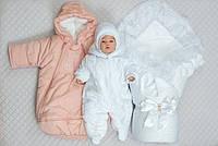"""Зимний набор на выписку """"Восторг"""" для новорожденной девочки 4 предмета (с комбинезоном), фото 1"""