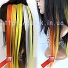 Искусственные термо пряди волос на заколках, светло оранж, фото 6