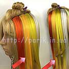 Волосы на заколках цветные пряди светло оранжевые, фото 5