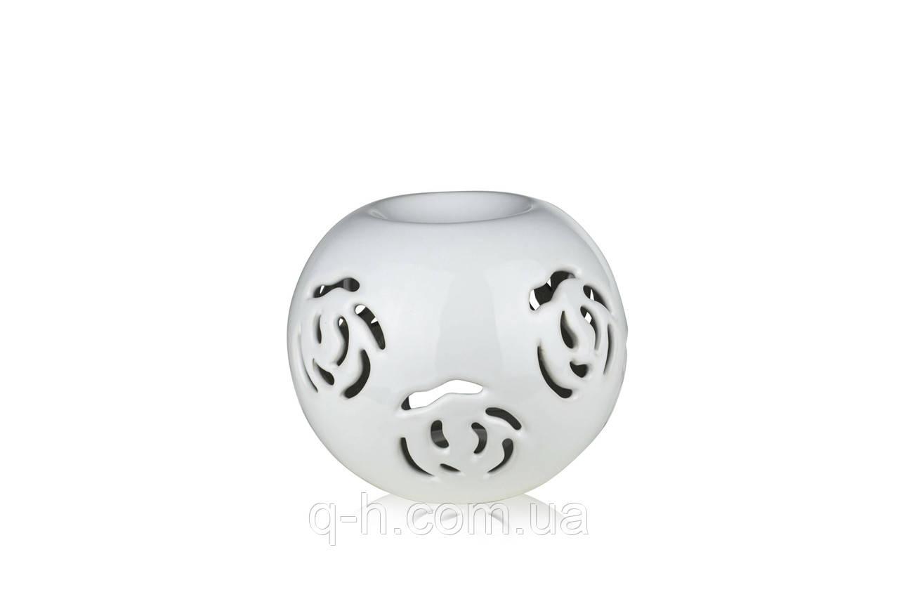 Аромалампа из керамики для аромамасел и кубиков 12 см с декоративным резанным узором белая (2207-12)