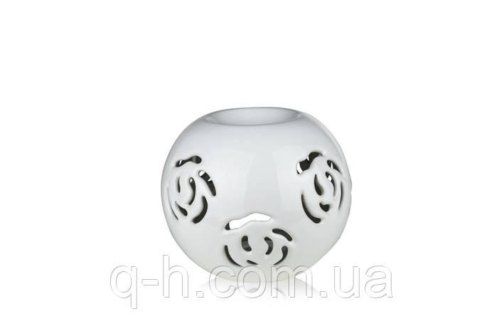 Аромалампа из керамики для аромамасел и кубиков 12 см с декоративным резанным узором белая (2207-12), фото 2