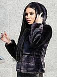 Коротка жіноча шуба графіт з штучного хутра норка з капюшоном (р. 42-56) 392037, фото 2