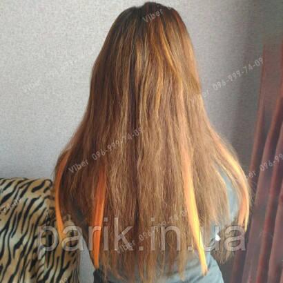 💕 Цветные пряди волос на заколках светло янтарного цвета 💕