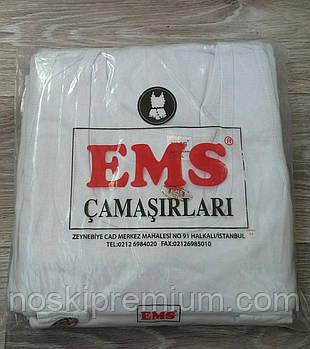 Майка мужская EMS 100% хлопок, Турция, размер XS (46), белая, 02453