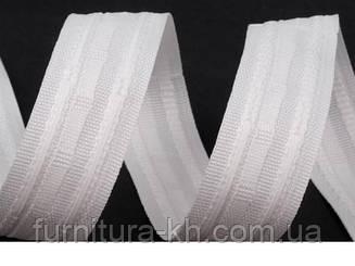 Тесьма для штор, 2.5 см белая х/б, 100 м в . рулоне