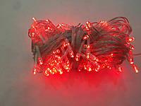 Гирлянда 100 LED 5mm, на прозрачном проводе, красная