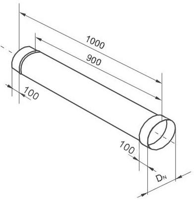 Дымоходная труба нержавейка 1 м ― схема размеров