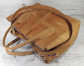 59-5 Натуральная кожа, Сумка женская рыжая КРЕЙЗИ ХОРС Женская сумка кожаная рыжая, фото 3