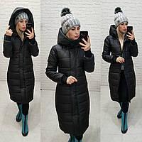 Зимнее женское теплое длинное пальто черное 42 44 46