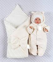 """Зимний набор """"Лапочка Мишка"""" на выписку из роддома для новорожденных 3 предмета. Молочный, фото 1"""