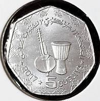 Монета Мавритании 5 угий 2017 г.