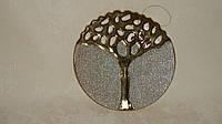 Керамическая подставка-поднос золотистая с гравировкой , фото 1