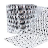 Шина с иммитацией  стразового полотна и прямоугольным элементом, 25 х 12 см